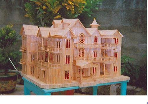 Hướng dẫn làm nhà bằng tăm tre 12