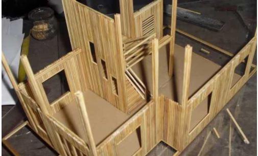 Hướng dẫn làm nhà bằng tăm tre 5