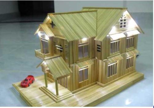 Hướng dẫn làm nhà bằng tăm tre 1
