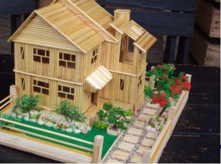 Hướng dẫn làm nhà bằng tăm tre 9