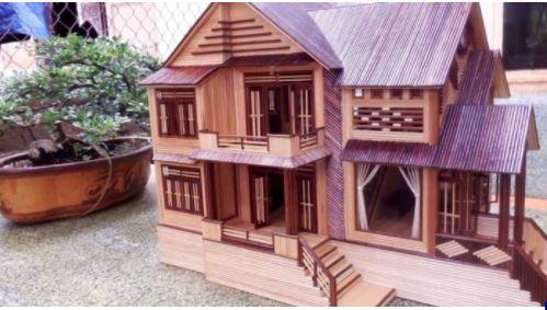 Hướng dẫn làm nhà bằng tăm tre 8