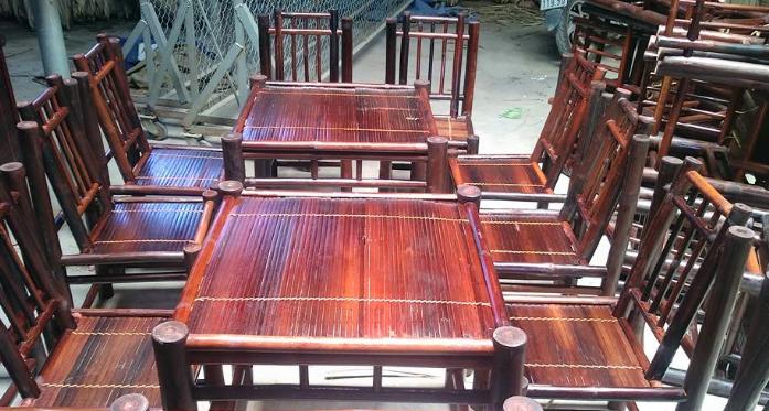 Bàn ghế tre trúc được sử dụng tại các nhà hàng, quán ăn, quán cà phê