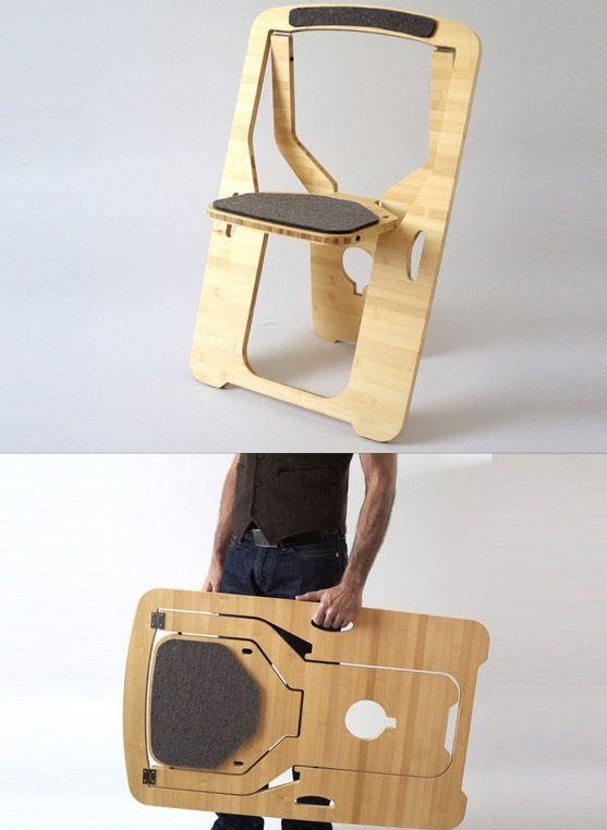 Nếu ngôi nhà của chúng ta quá chật chọi cộng thêm bộ bàn ghế cồng kềnh, sao không thử những chiếc ghế tiết kiệm diện tích và thông minh hơn? Đây là chiếc ghế được làm từ tấm ván ép tre khá đơn giản và tiết kiệm diện tích.