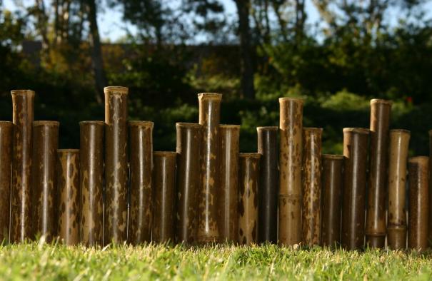 Mẫu hàng rào nghệ thuật với các ống tre luồng to chắc chắn